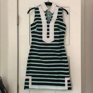 Sail to Sable Size XXS blue and mint striped dress